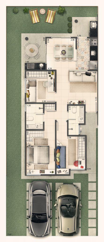 Casa Terrea 70m² - 3 Quartos