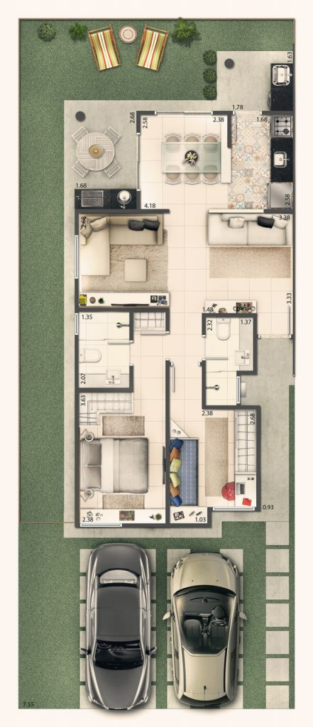 Casa Terrea 70m² - Sala ampliada
