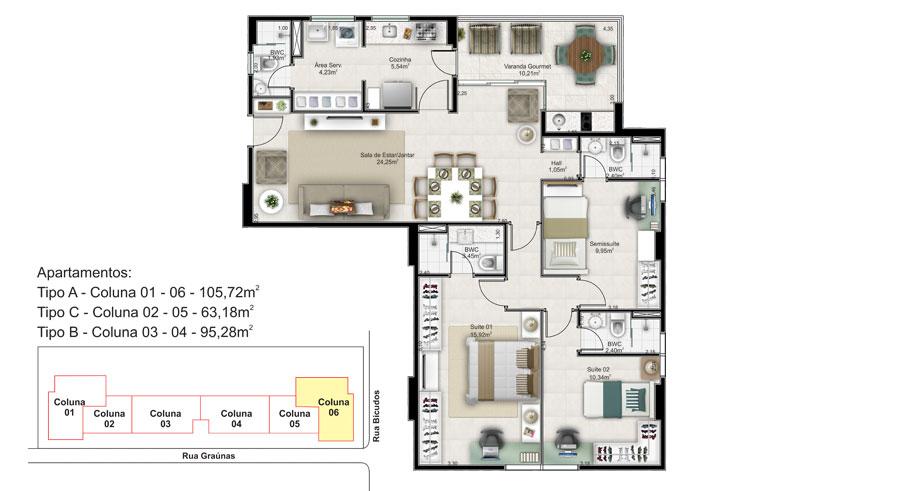 3 quartos (2 suites) tipo A - coluna 6