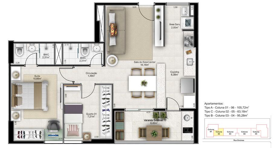 3 quartos (2 suites) tipo C - coluna 2