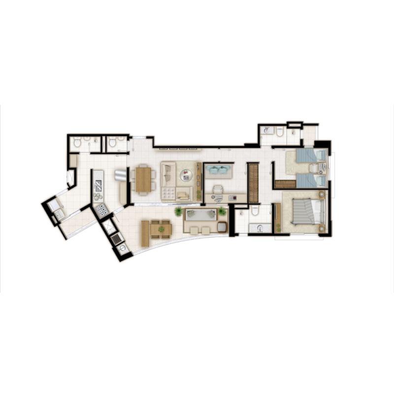 Planta tipo 1 suíte home office - 115m²
