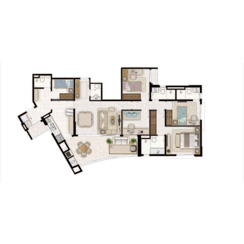 Planta tipo 2 suíte e home office - 115m²