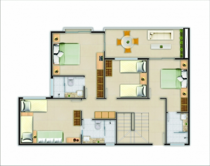 Planta 176m² Cobertura Duplex - Inferior