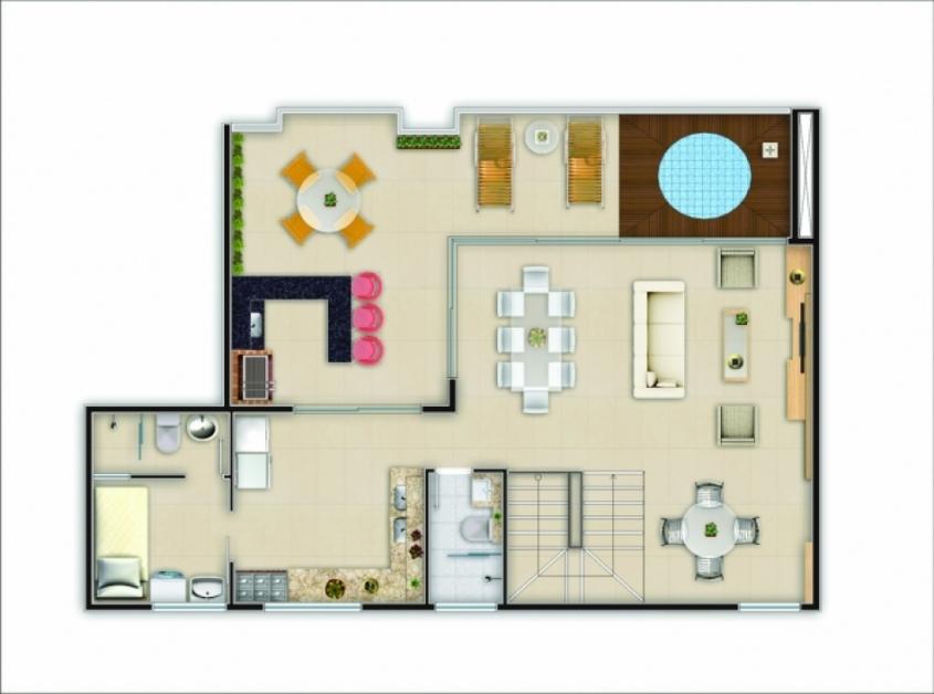 Planta 176m² Cobertura Duplex - Superior