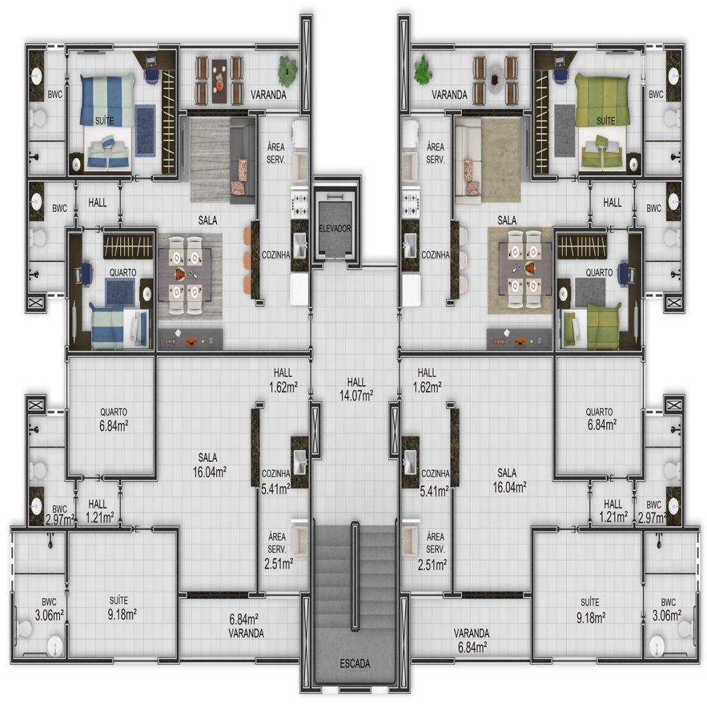 Planta 2 apartamentos