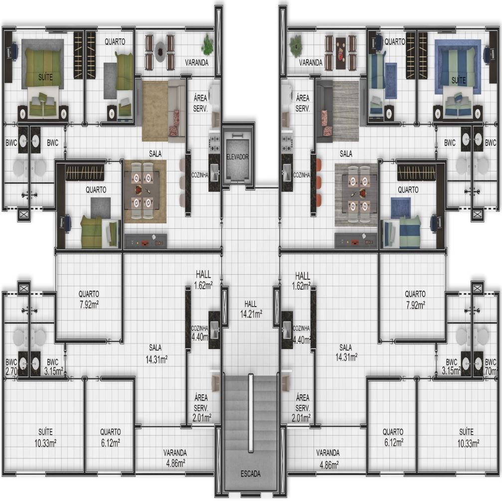 Planta 3 apartamentos