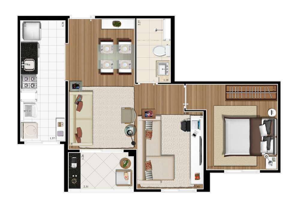 2 dorms 47m² opção living ampliado.