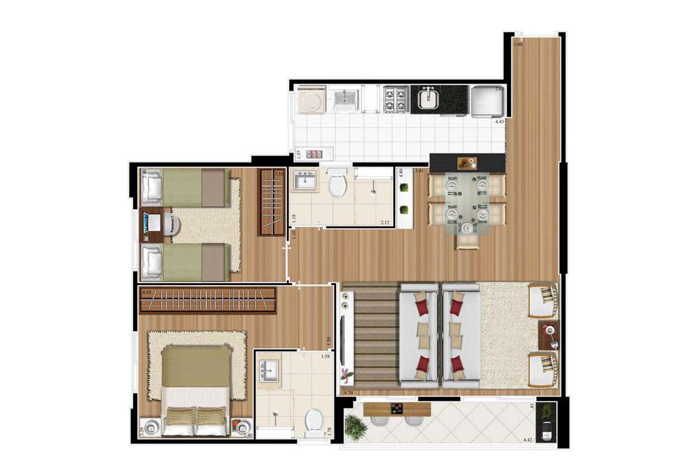 3 dorms (1 suíte)  66m² opção living ampliado.