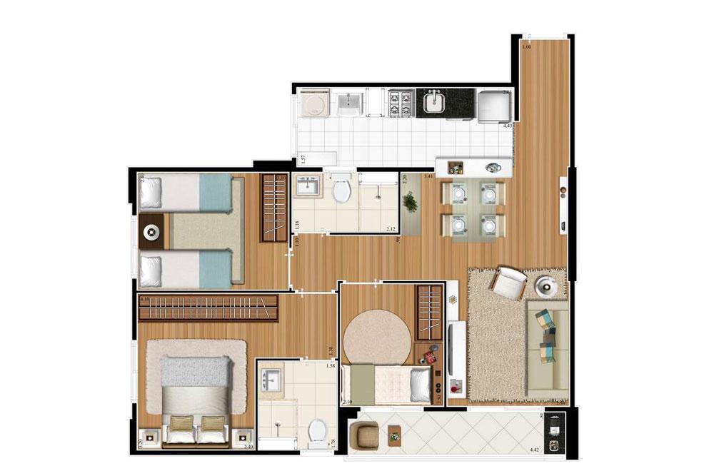 3 dorms (1 suíte) 66m².