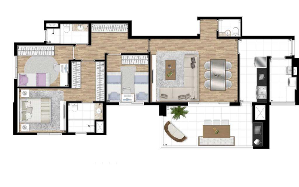 108m² - 3 Dorms - 1 Suíte