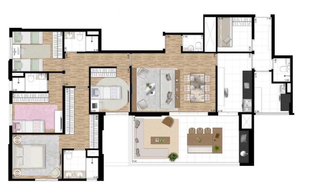 151m² - 4 Dorms - 2 Suítes