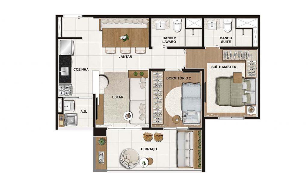 2 Dorms (suíte) 60m²