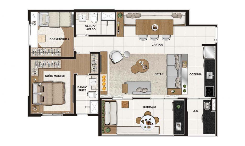 2 Dorms (suíte) 75m²
