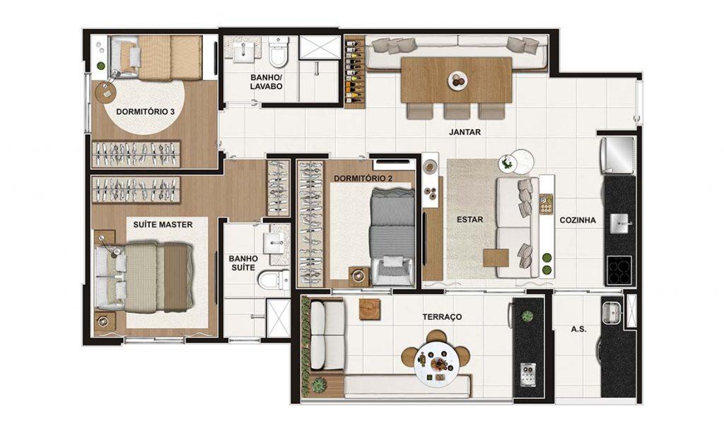 3 Dorms (suíte) 75m²