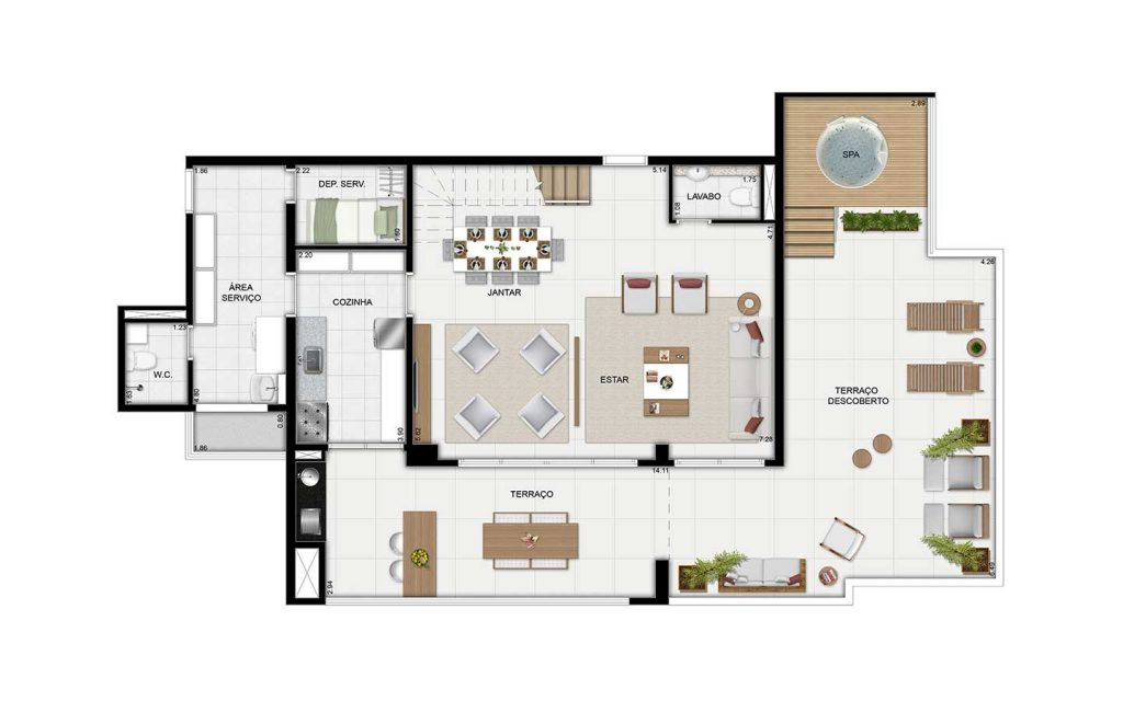 Cobertura Duplex Inferior - 238m²