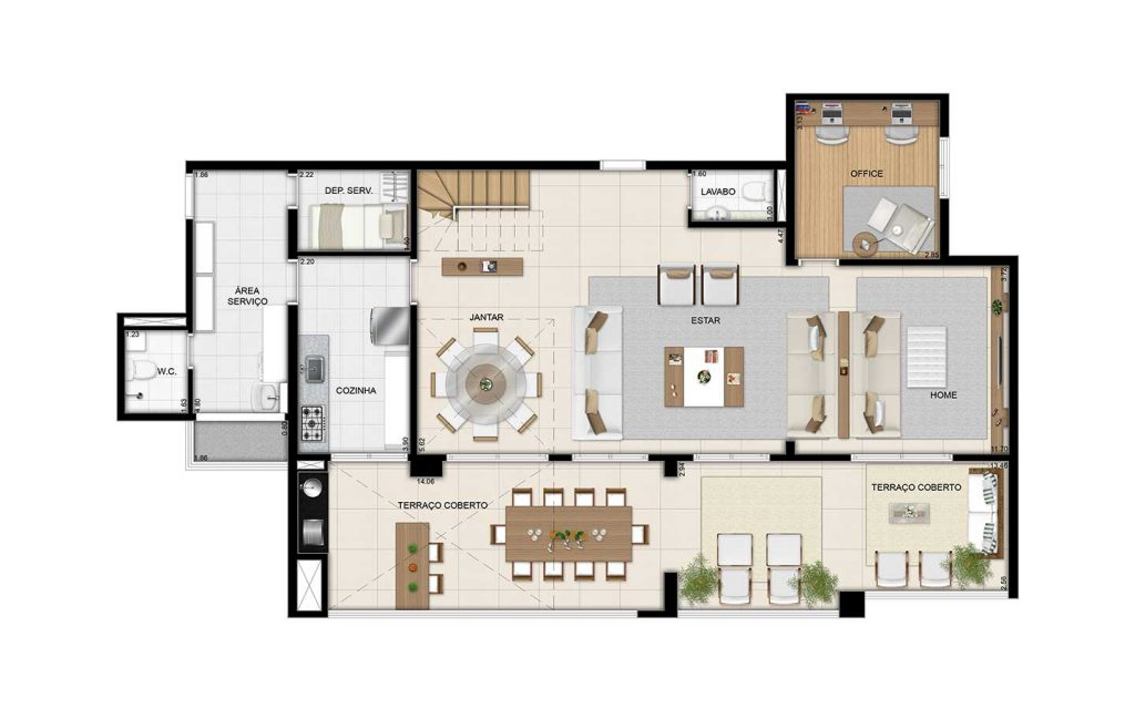 Cobertura Duplex Inferior - 264m²