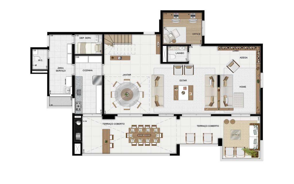Cobertura Duplex Inferior - 289m²