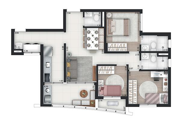 75m² - 3 Dorms