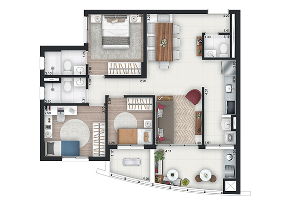 80m² - 3 Dorms