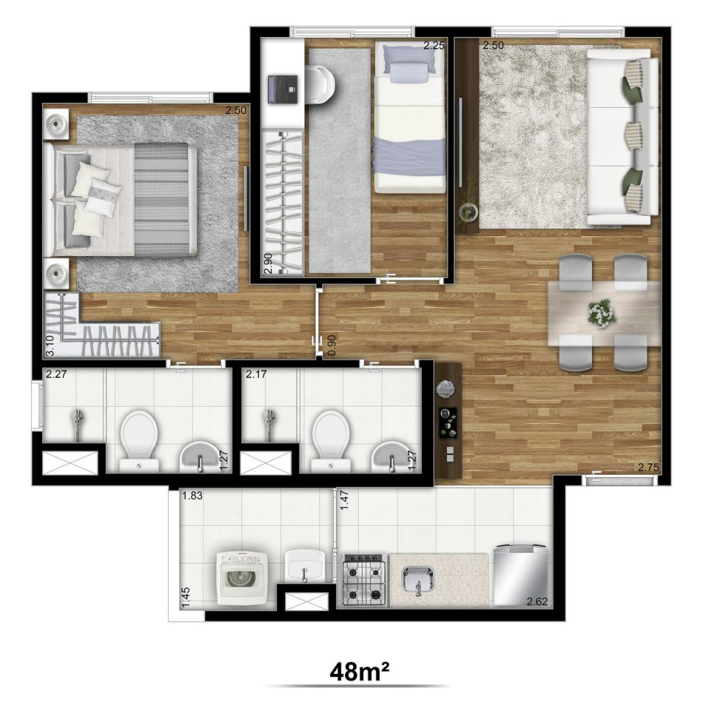 Tipo 48m²