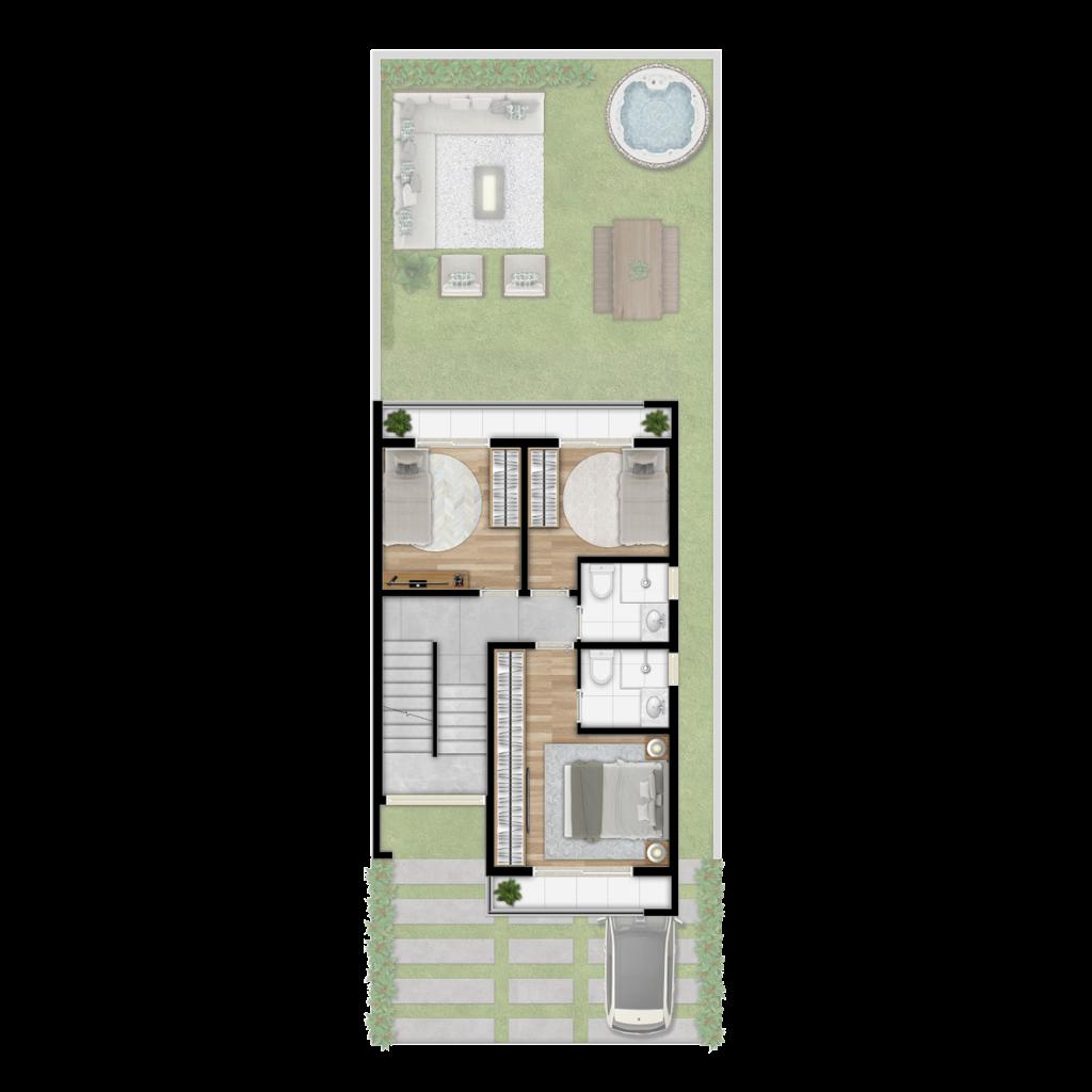 Triplex Mogno - 167m²  Pavimento 1