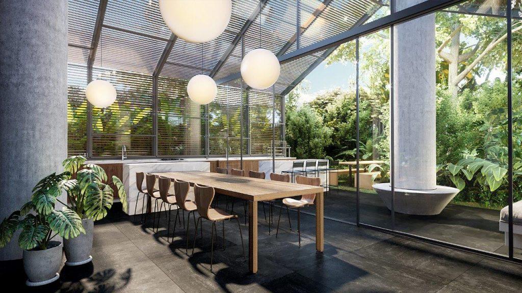HOME_Perspectiva Artística do Greenhouse e Espaço Gourmet