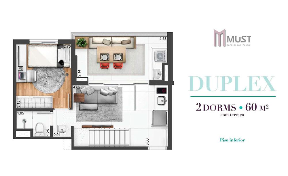 Duplex 60m² - Inferior