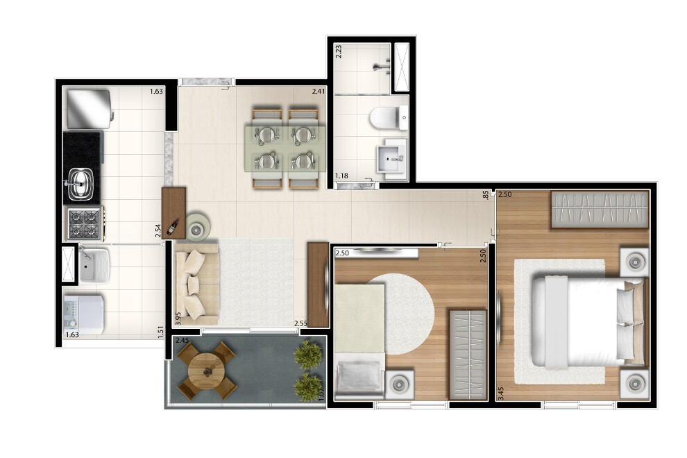Tipo 45m²