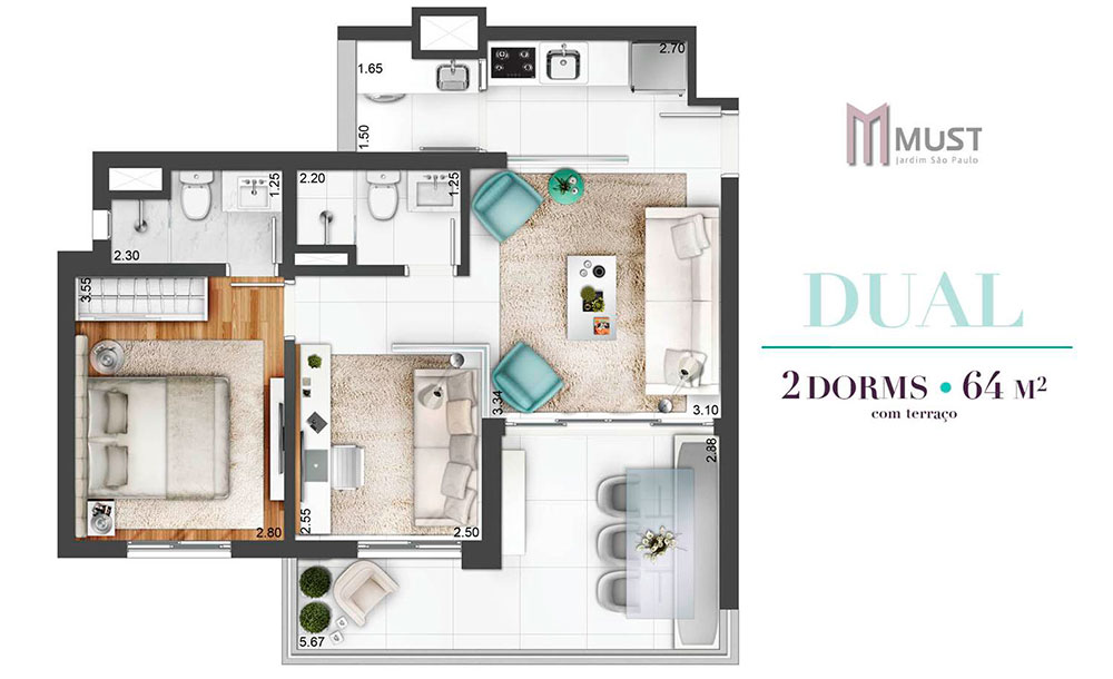 Tipo 64m²