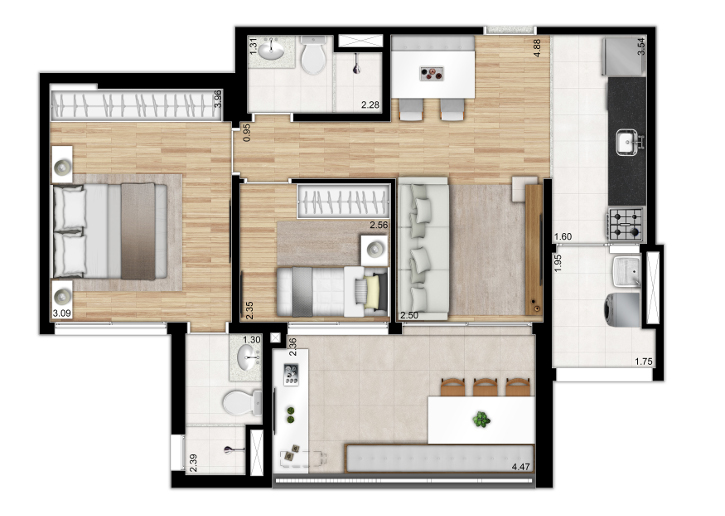 Tipo 72m²