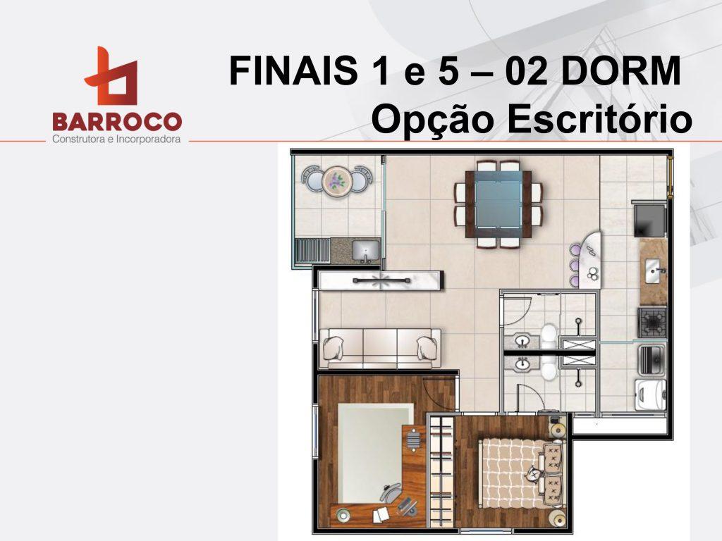 Tipo finais 1 e 5 - 02 Dorms opção escritório