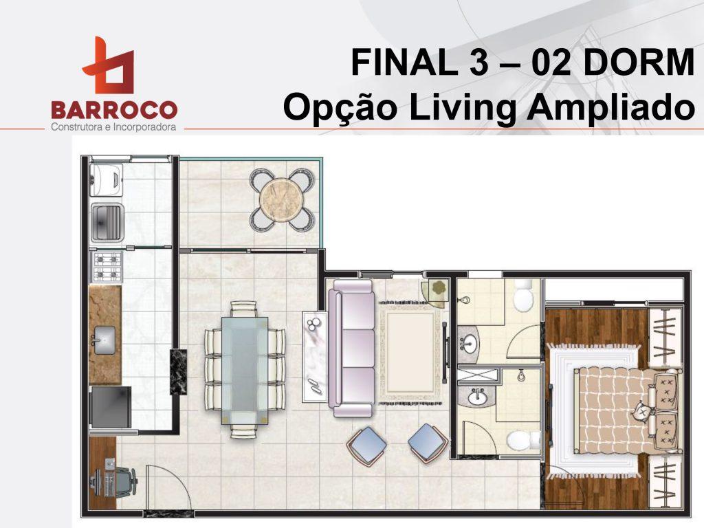 Tipo final 3 - 02 dorms - opção Living Ampliado