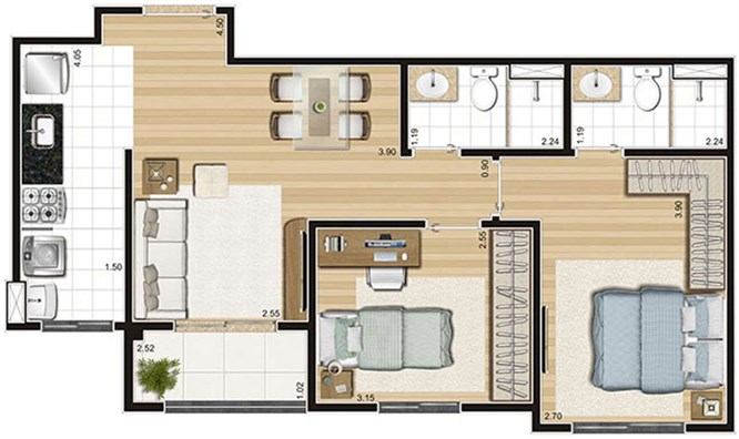 Tipo - 55,91m²