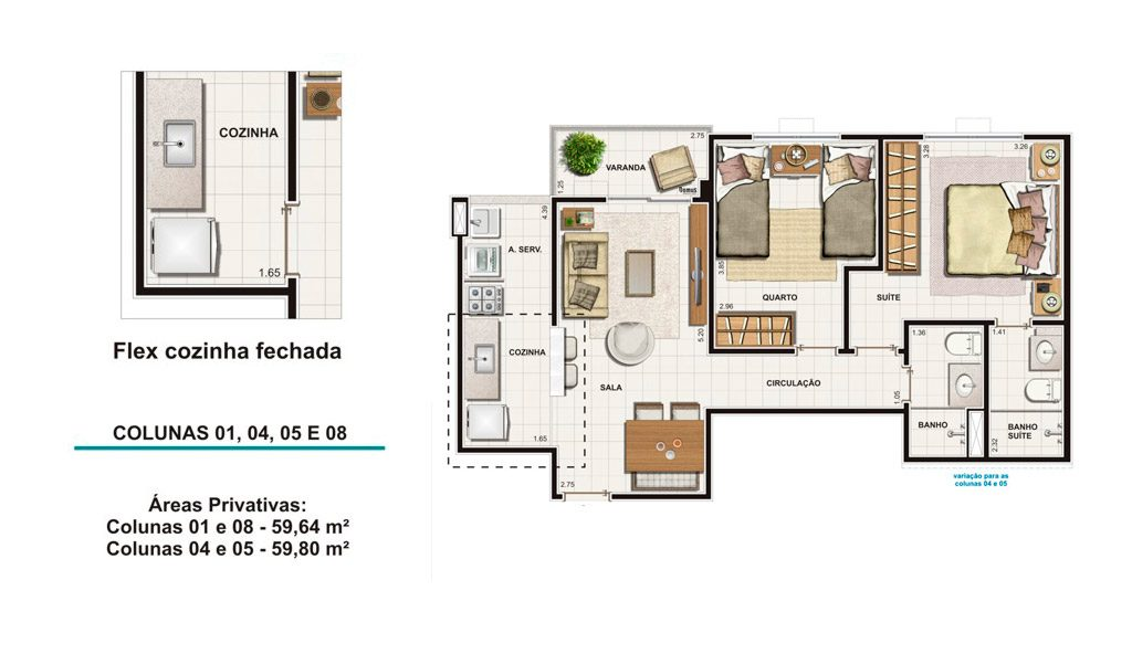 Tipo 59m²