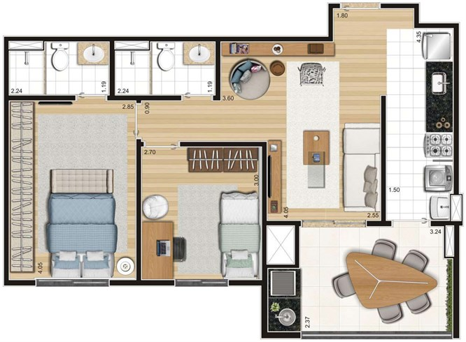 Tipo - 64,55m²