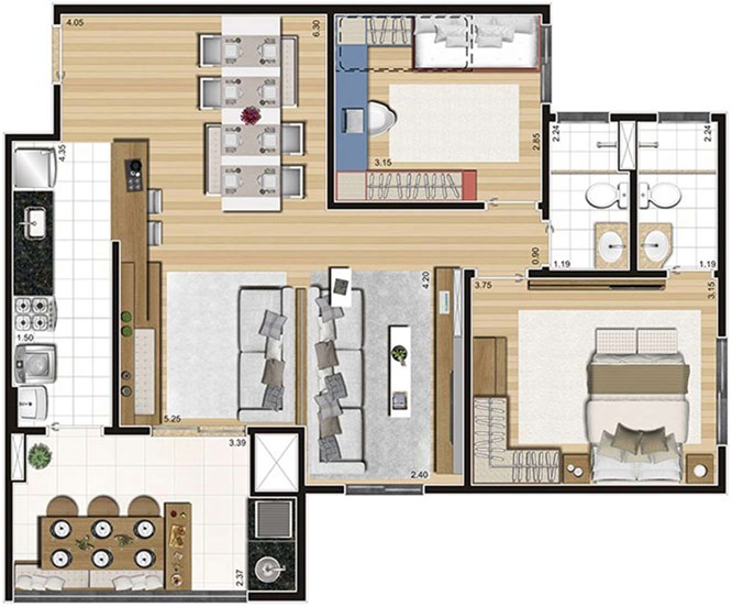 Tipo - 83,40m²