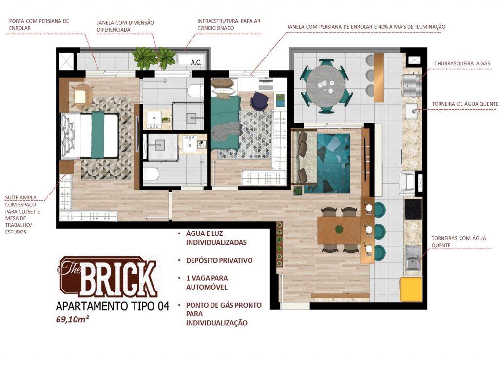 Planta Ilustrativa - Apto 69,10m² - 2 dorms, cozinha integrada e terraço com churrasqueira