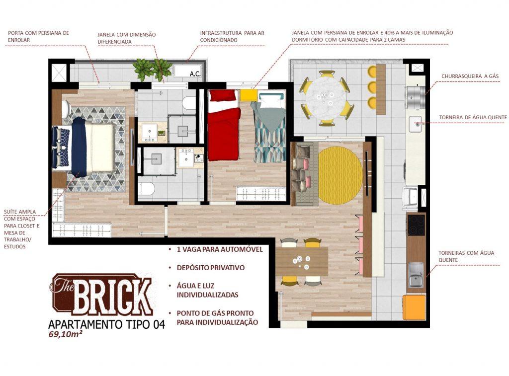 Planta Ilustrativa - Apto 69,10m² - 2 dorms e terraço com churrasqueira