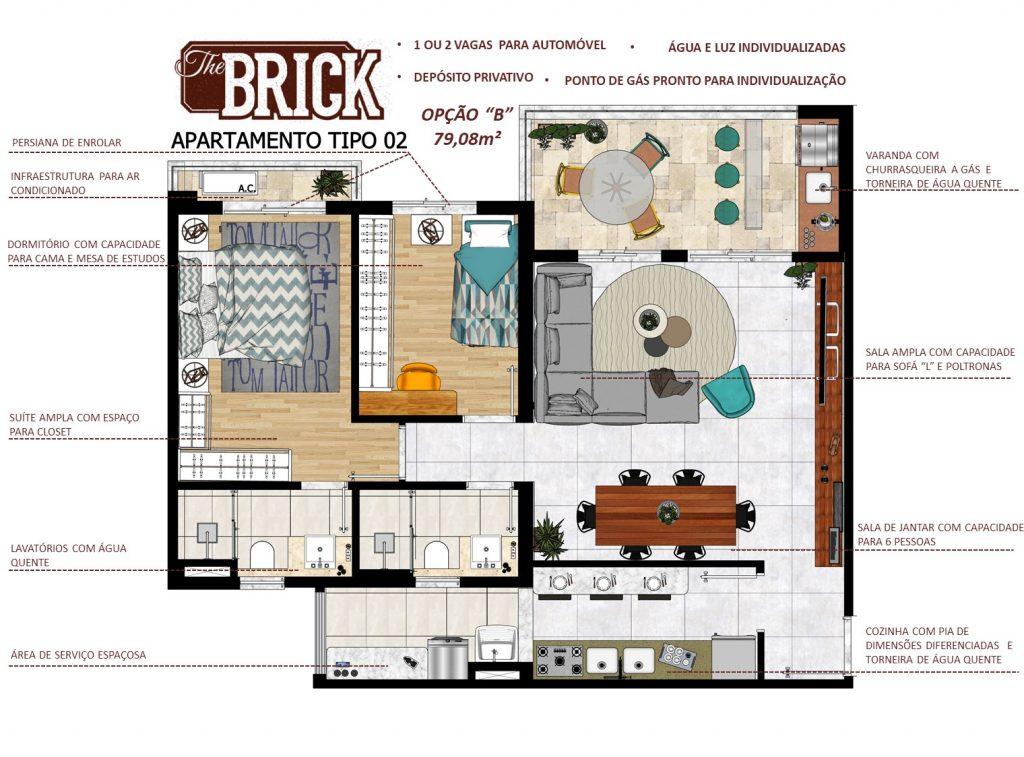 Planta Ilustrativa - Apto 79,08m² - 2 dorms, sala ampliada e terraço com churrasqueira