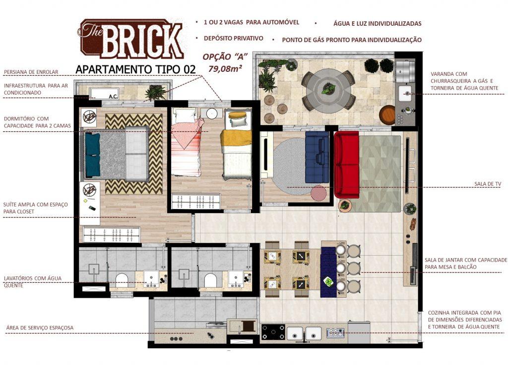Planta Ilustrativa - Apto 79,08m² - 3 dorms, cozinha integrada e terraço com churrasqueira 2