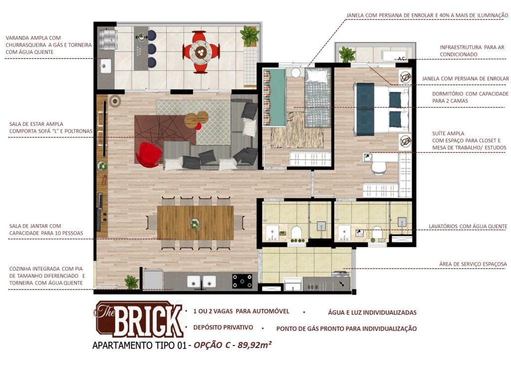 Planta Ilustrativa - Apto 89,98m² - 2 dorms, cozinha integrada e terraço com churrasqueira