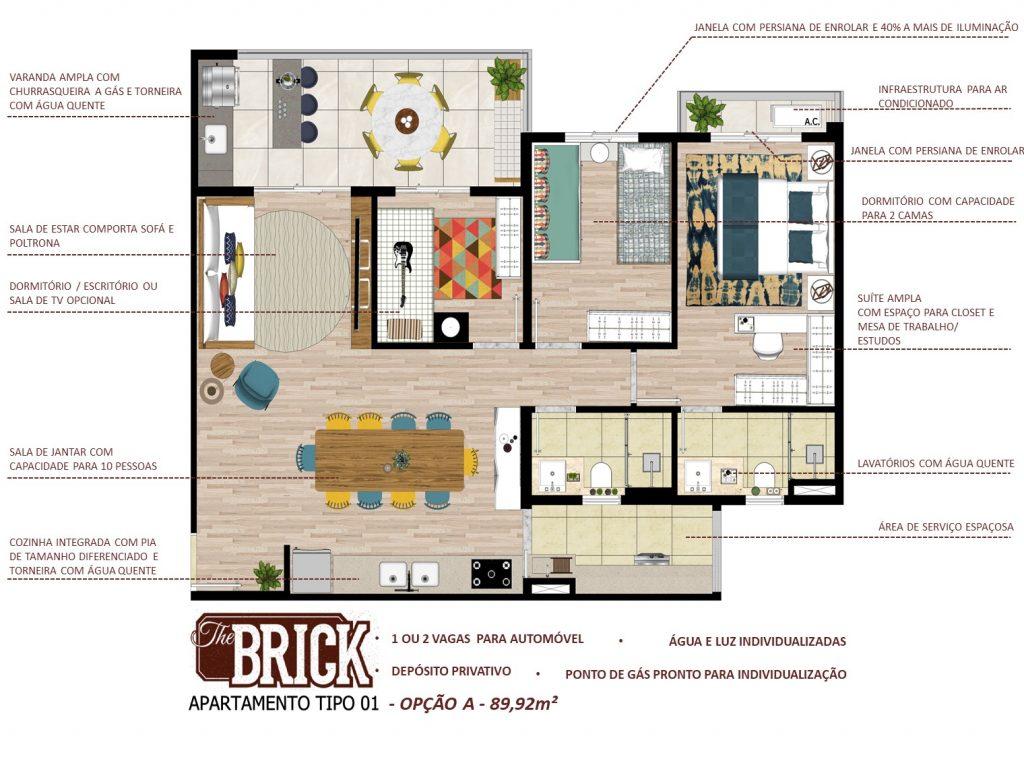 Planta Ilustrativa - Apto 89,98m² - 2 dorms, cozinha integradas e terraço com churrasqueira