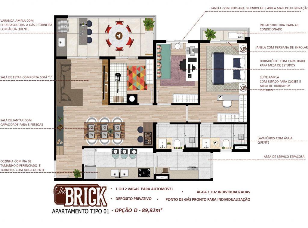 Planta Ilustrativa - Apto 89,98m² - 3 dorms, terraço com churrasqueira