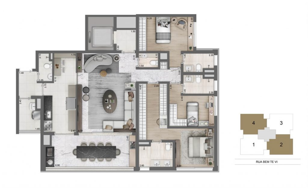 Tipo - 3 suítes 149m² cozinha ampliada