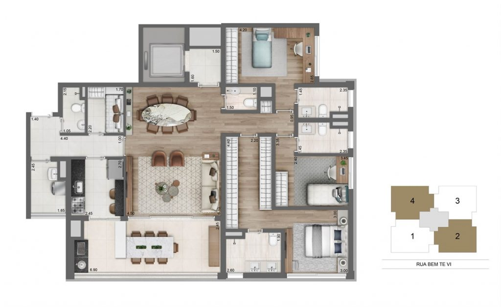 Tipo - 3 suites 149m²