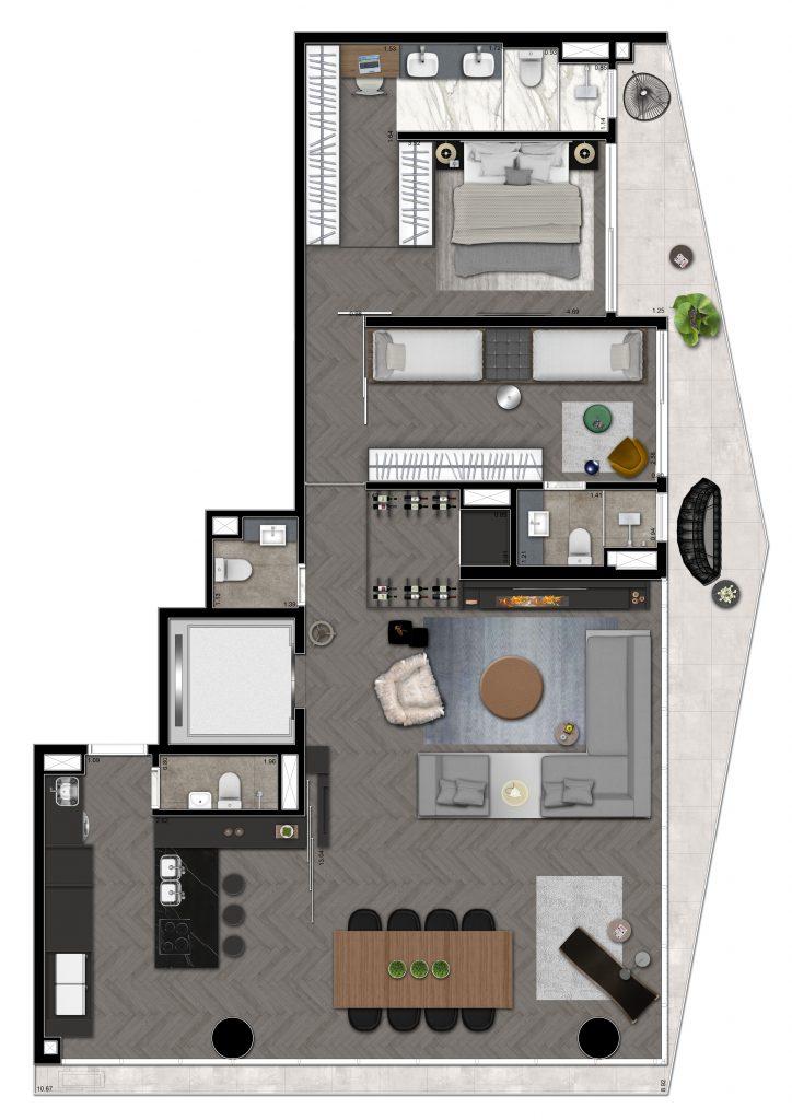 2 suites 154m²