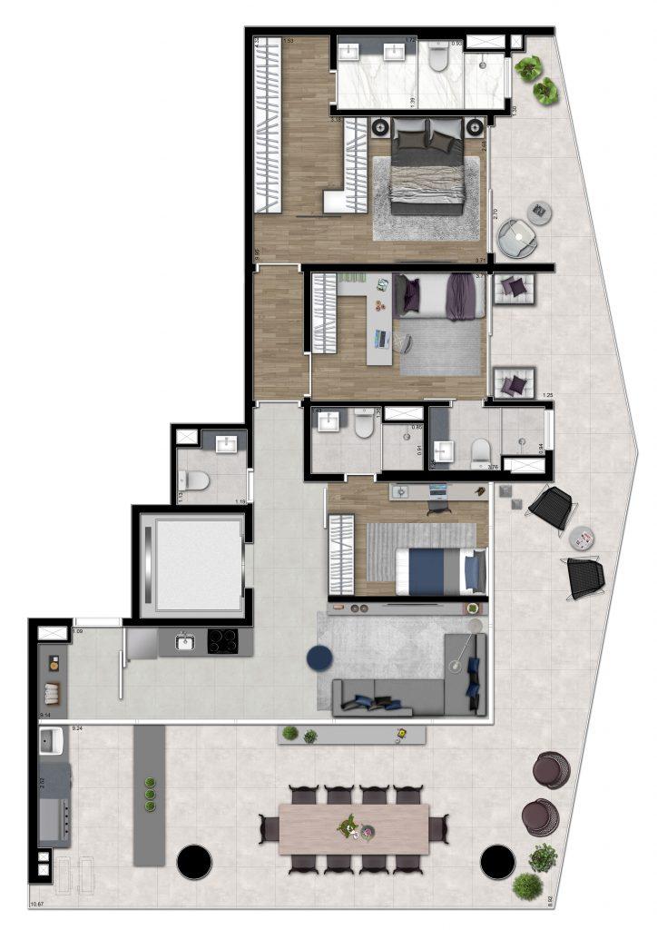 3 suites 154m²