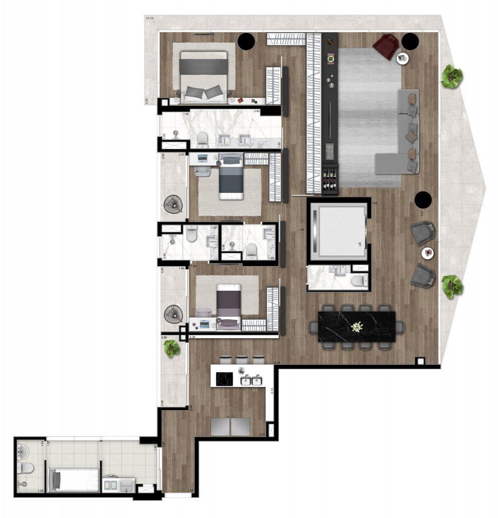 3 suites 176m²