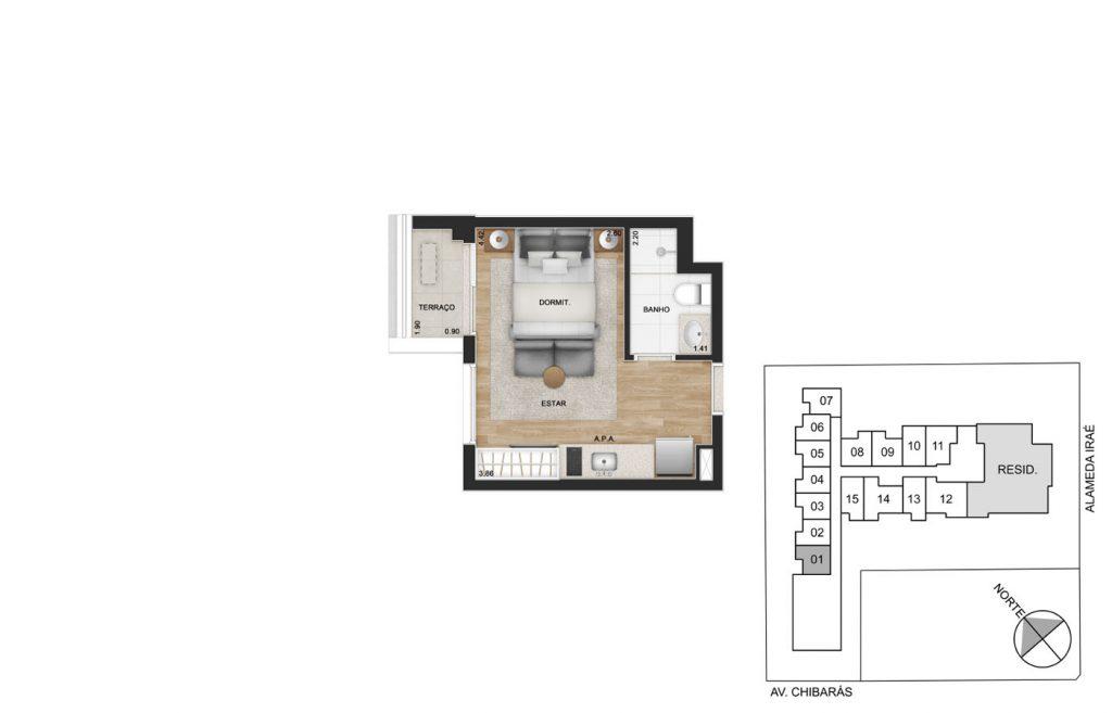 Studio 24m²