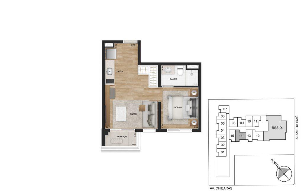 Studio 34m²